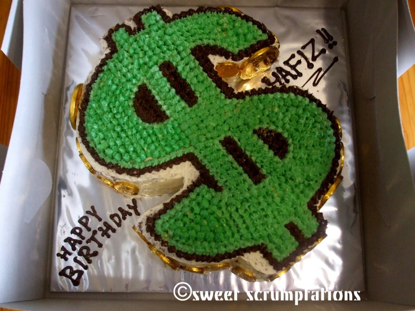 dollar bill birthday cake